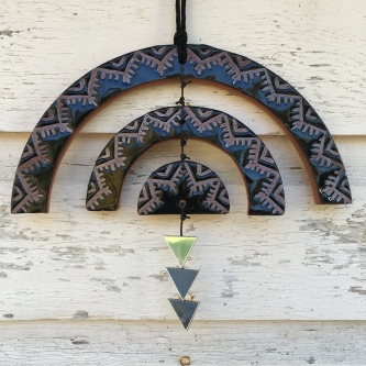 SOLD Wall hanging made with hand-cut cone 6 stoneware tiles