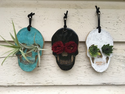 SOLD Skulls made with hand-cut cone 6 stoneware