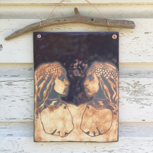 Hand painted, water-etched tile made with cone 10 stoneware $110
