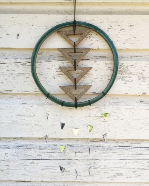 SOLD Wall hanging made with hand-cut cone 10 stoneware tiles