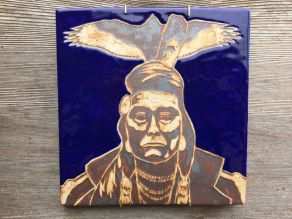 SOLD Hand painted, water-etched tile made with cone 10 stoneware