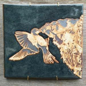 Hand painted, water-etched tile made with cone 10 stoneware $60