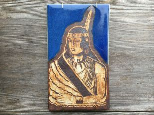Hand painted, water-etched tile made with cone 10 stoneware $100