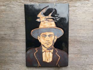 Hand painted, water-etched tile made with cone 10 stoneware $75