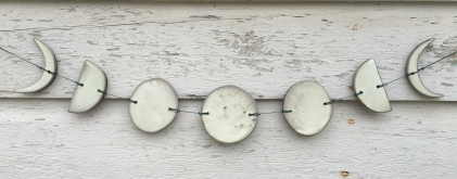 Moon phase wall hanging made with hand-cut cone 10 stoneware tiles $75