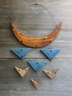 Wall hanging made with hand-cut cone 10 stoneware tiles $65
