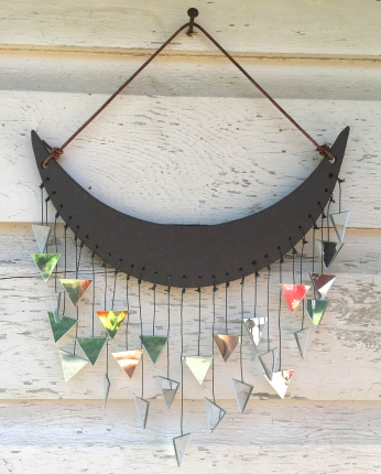 SOLD Wall hanging made with hand-cut cone 10 stoneware tile and mirror accents
